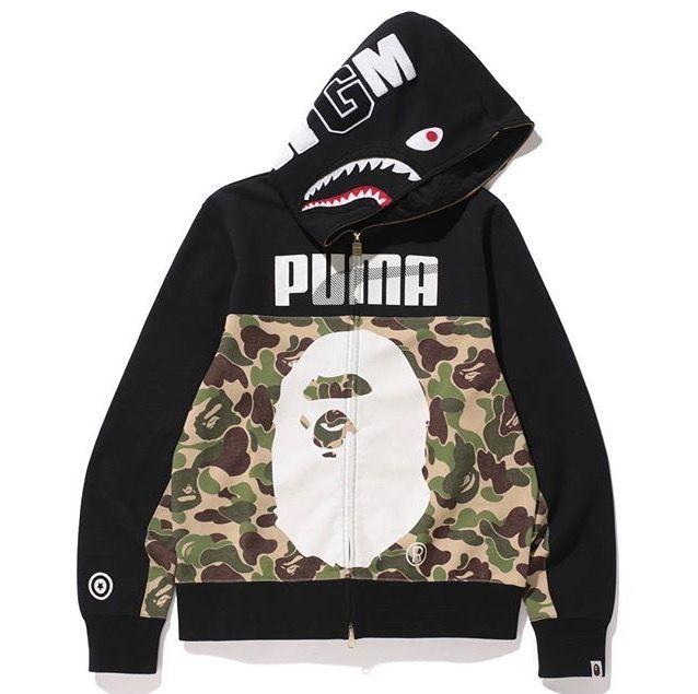A Bathing Ape Bape Puma Shark Full Zip con cappuccio e