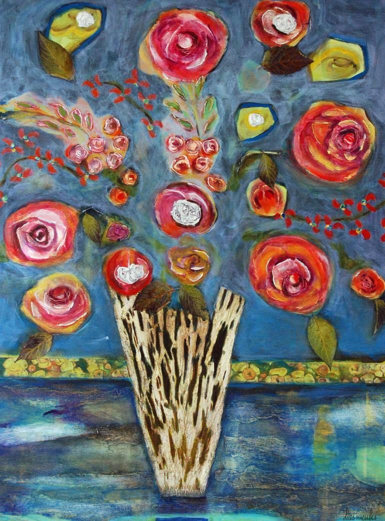 Crazy Painting Saatchi Art Artist Dominique Desmeules Painting Crazy Flowers