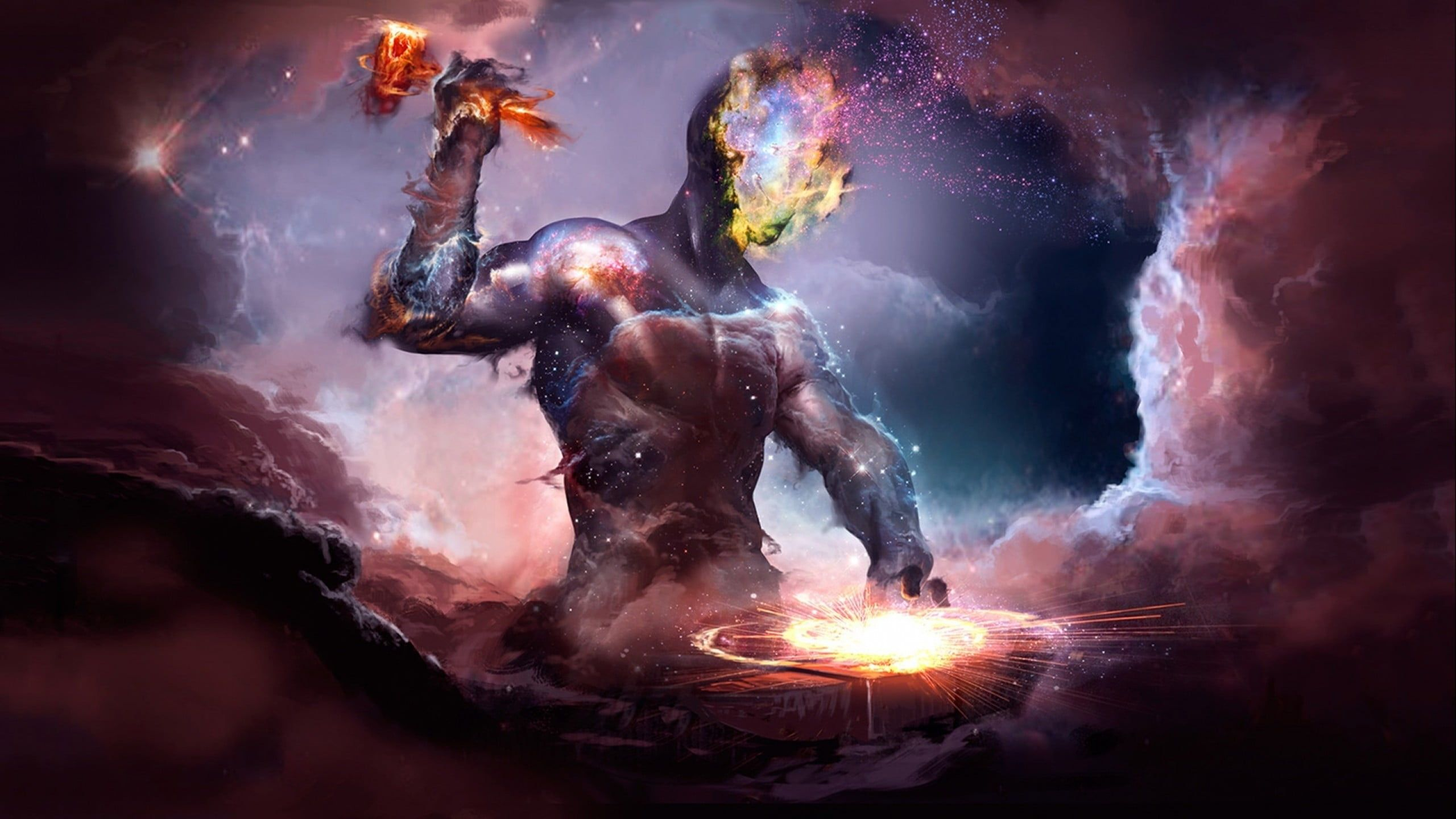 Greek God Illustration Person Forging Weapon On Anvil Artwork Fantasy Art Digital Art Galaxy Space Lif Greek God Illustration God Illustrations Greek Gods