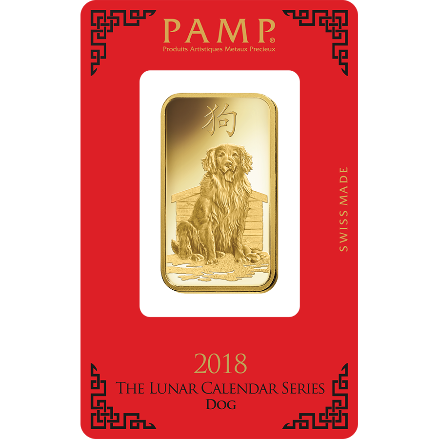 The pamp 2018 lunar dog 1oz gold bar features on its obverse a bar biocorpaavc