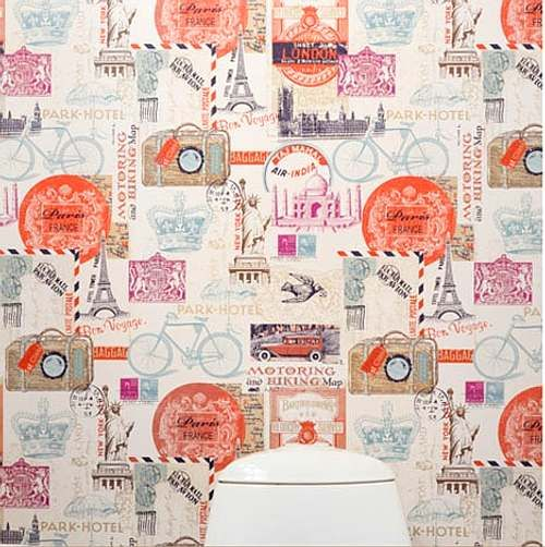 Papel pintado original en el ba o the wall pinterest - Papel decorativo para banos ...