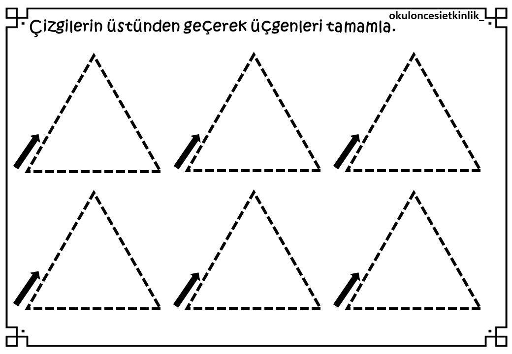 Ucgen Ile Ilgili Calisma Sayfasi Matematik Faaliyetler Okul Oncesi
