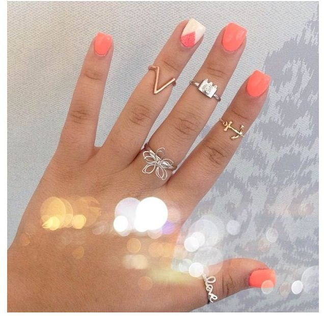 Coral And White Nails With Triangle Geometric Design Instagram