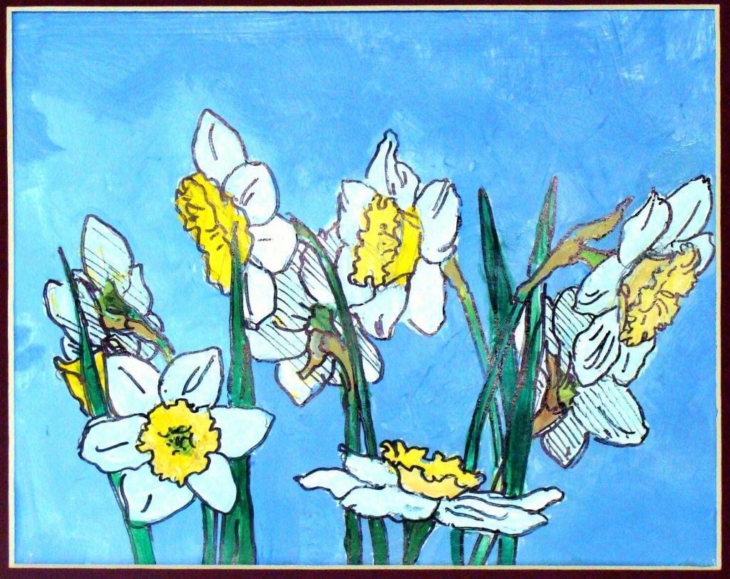 Painted daffodils started with drawing an ellipse teaching art