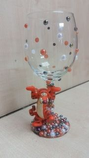 Character wine glass - Tigger  Our wine glasses are all handmade to order, They are made for decorative purposes only & are not suitable for children.