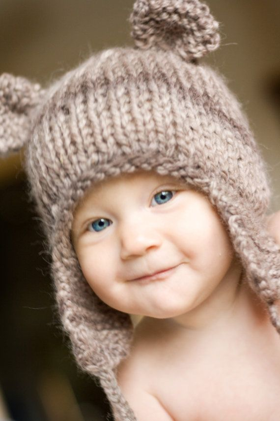 PDF Knitting PATTERN FILE Teddy Bear Earflap Hat, $4 | tejidos ...
