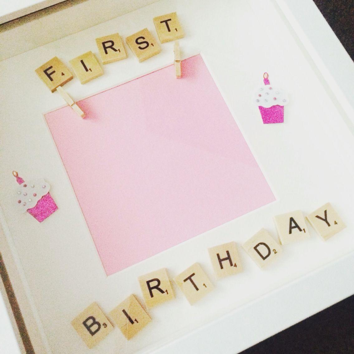 First birthday girls scrabble photo frame   Baby makes   Pinterest ...