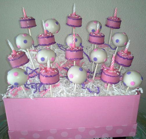 Birthday Cake Pops Polka Dot Cake Pops Mini by TheMaDCakePopShop