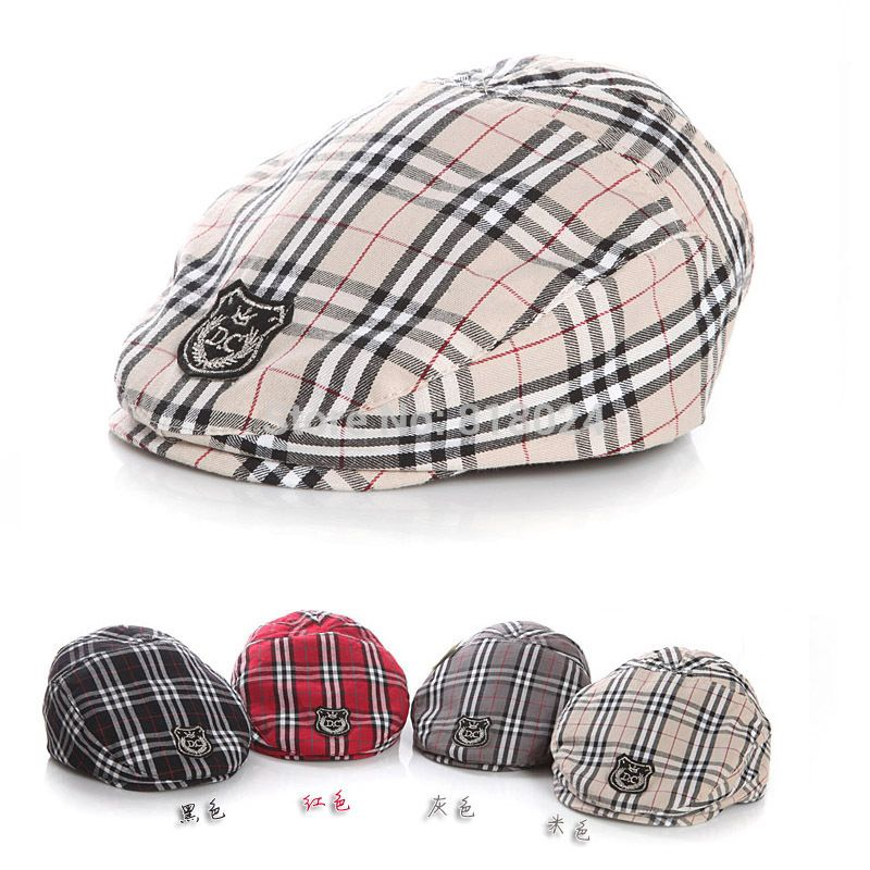 023bd00d11e 2017 New Plaid Cotton Berets Kids Hats Children Hat Female Beret Stripe  pattern Caps Kid Flat Cap For Boy Girl