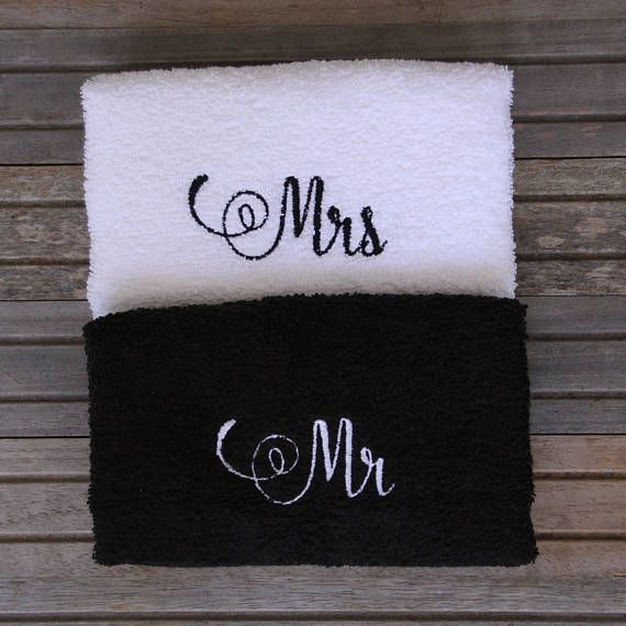 Embroidered Towels For Wedding Gift: Embroidered Mr And Mrs Bath Hand Towel, Just Married Towel