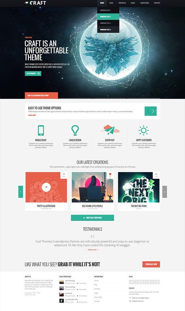 Craft WordPress Theme – Blog   Web   Pinterest   Inspiración