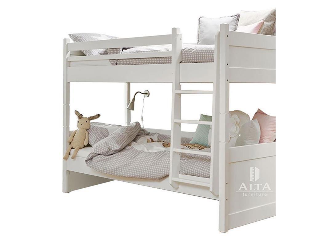 Steens Etagenbett Weiß : Alta furniture etagenbett mit gerader leiter snow white 90x200cm