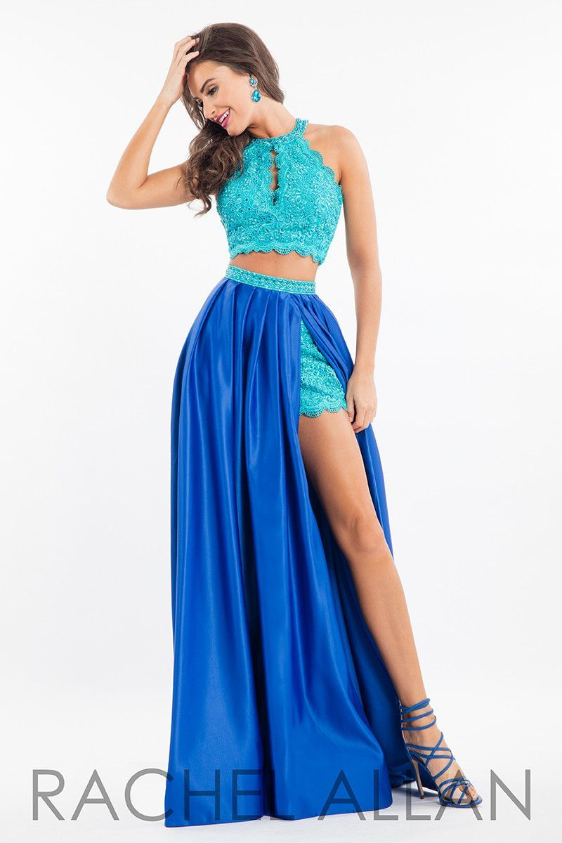 This Stunning Two Piece Gown Has A Detailed High Neck Top Along With