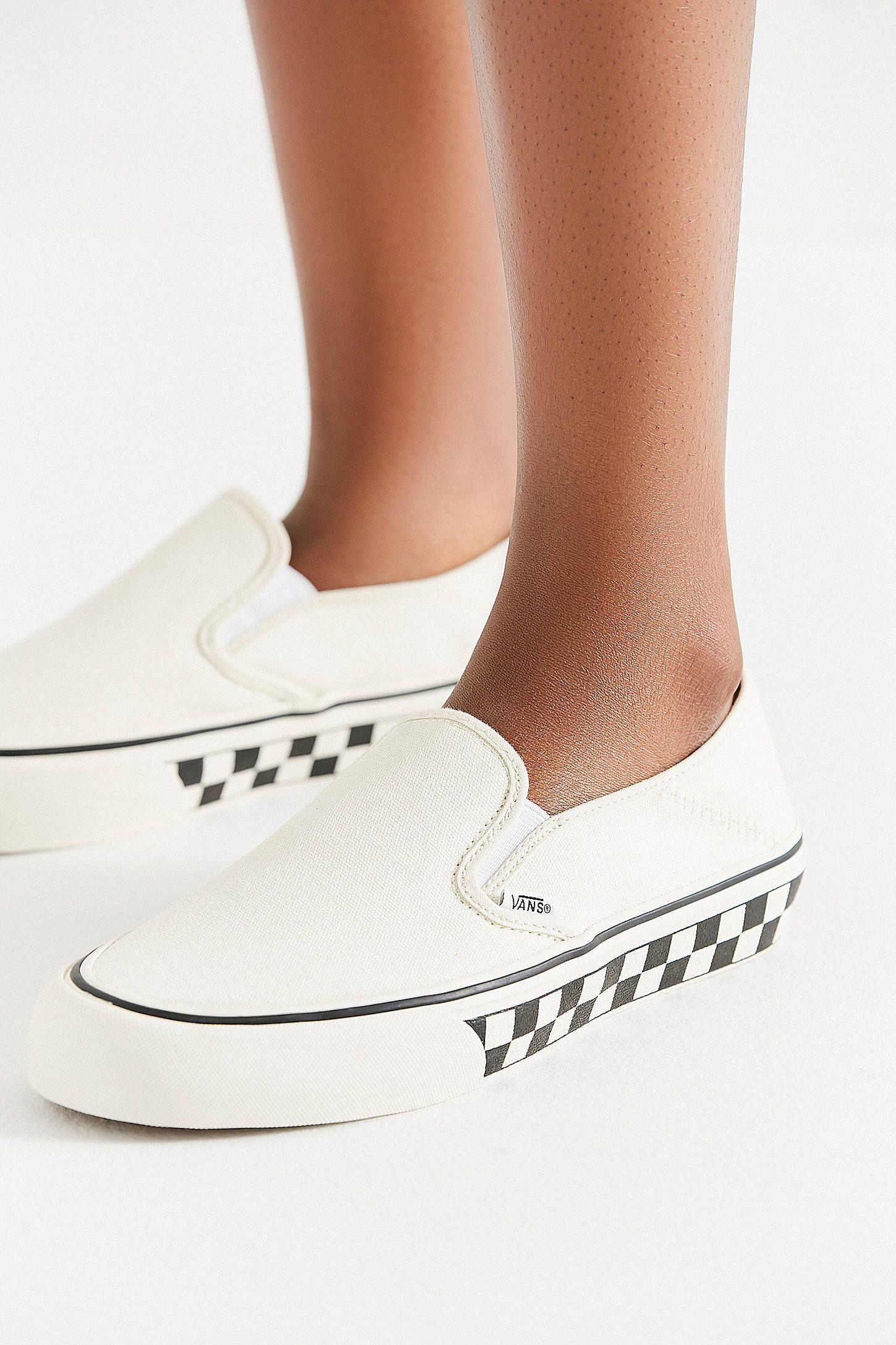 ec9ab866e8d4 Vans Slip-On Checkerboard Sidewall White Sneaker