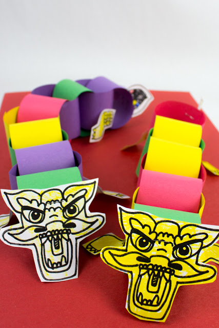 Chinese New Year Paper Chain Dragons (Printable included!)