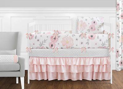 Jojo Shabby Chic Blush Pink Gray Floral Watercolor Girl Baby Bedding