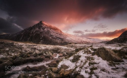 The Pastel Mountain by stevenrcole7  sunrise mountains winter snow mountain dawn national park nikon d7000 tryfan Snowdonia Stream Pen yr
