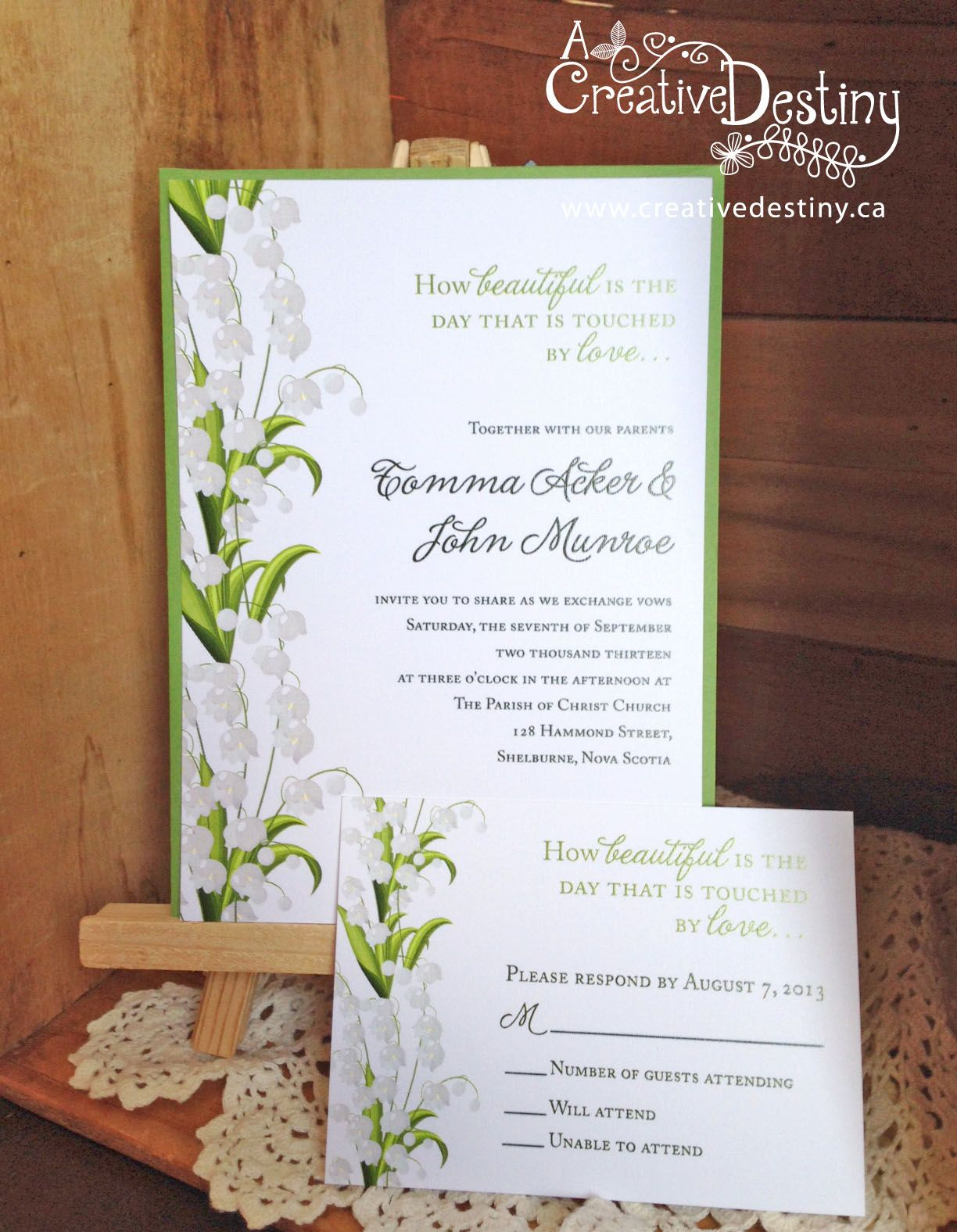 lily of the valley wedding invitations | White purple mentha ...
