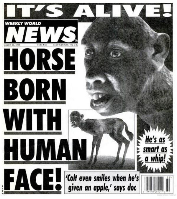 real covers from the weekly world news over the years that are just