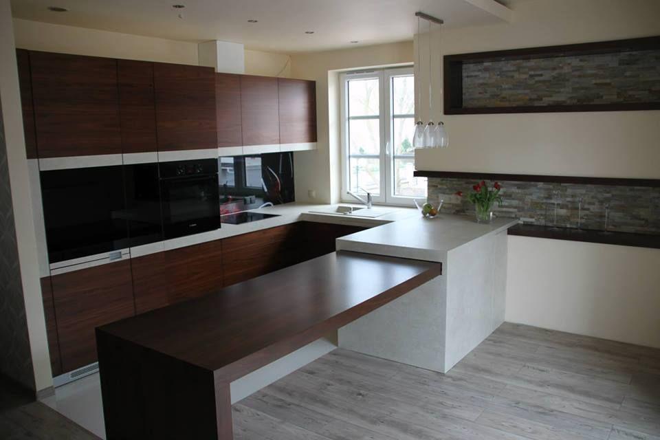 Kuchnia Fornirowana Orzech Ciemny Veneer Kitchen Cabinet