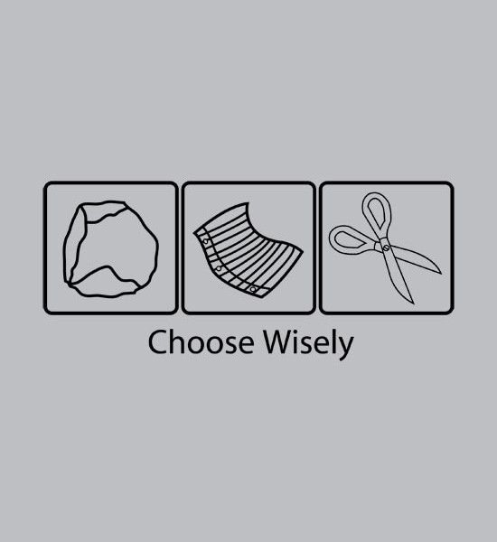 55413330 Choose Wisely Rock Paper Scissors T-Shirt | Silhouette | Rock paper ...