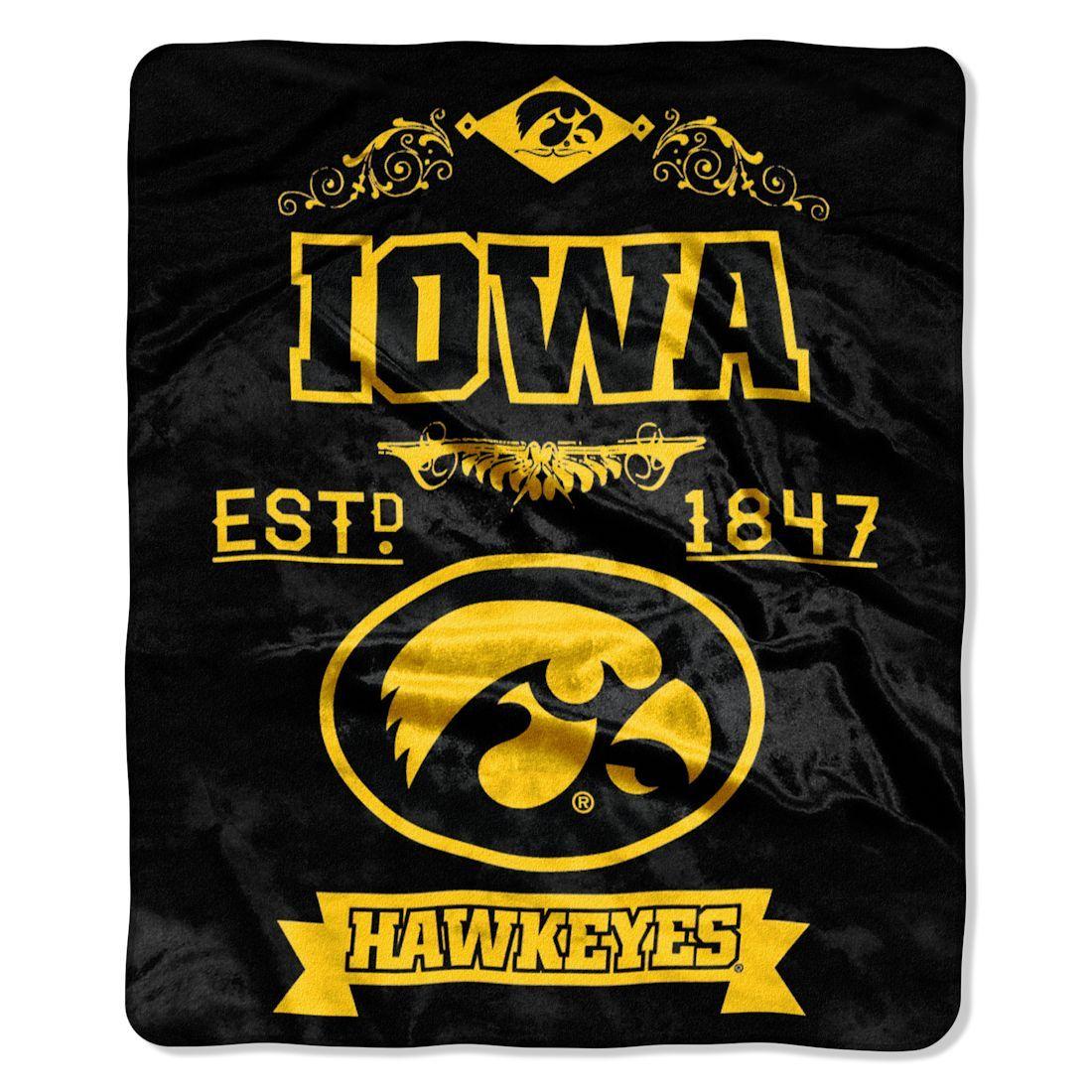 Iowa Hawkeyes Blanket 50x60 Raschel Label Design Iowa