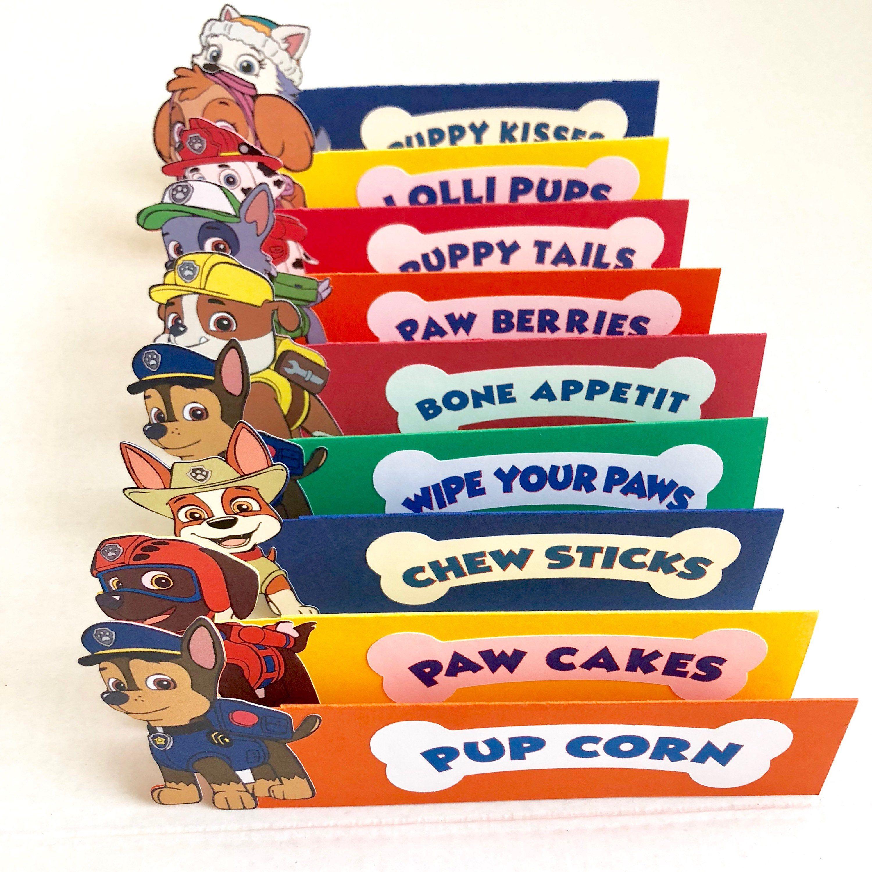 Paw Patrol Food Cards, Paw Patrol, Food Cards, Birthday Party Decor, Paw Patrol Decor, Table Cards - Paw patrol party decorations, Paw patrol birthday, Paw patrol birthday theme, Paw patrol party food, Paw patrol decorations, Boy birthday parties - Coordinate your birthday party with these cute Paw Patrol Food Card Labels  Need matching decor in this theme but don't see it in my shop  Message me so that I can create something for you! I love custom orders! PLEASE PROVIDE DATE NEEDED BY IN COMMENTS TO SELLER! Details  Set of 6 Food Labels  Labels Measure approximately 7 75x3 5  Characters printed on card stock & machine cut  Characters will be randomly chosen unless specified in comments to seller    Dog bone wording printed on bone & machine cut  Colors Base colors will be mixed unless specified in comments to seller 6 Labels read Farmer Yumi's crop Pupcorn Puppy chow Lollipups  Cheese Ruffs Dog Chews Need a custom order with different food names  Message me when placing your order   LEGAL DISCLAIMER This item is not a licensed product  All copyrights and trademarks of the character images used belong to their respective owners and are not being sold with this listing  You are paying for my time, services and supplies used to create, customize and assemble this handmade piece for your own personal use