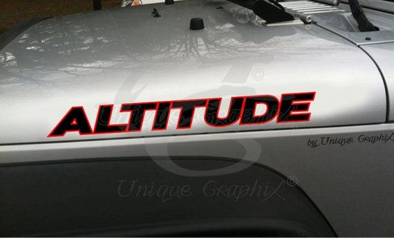 Altitude Hood Decal Vinyl Lettering Set 2 Colors Vinyl Lettering
