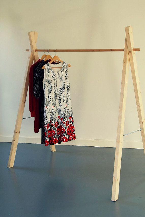 Items similar to Handmade Wooden Clothing Rack//handmade wooden clothes rack of Whitewood, demountable on Etsy #clothingracks