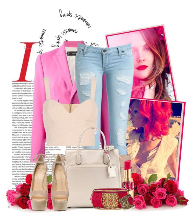 romantic spring by ana-delyth-aife on Polyvore featuring polyvore fashion style Dsquared2 Giuseppe Zanotti Reed Krakoff River Island clothing