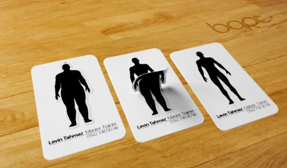 Great biz card for personal trainer sticker of fat person peels off to · card ideasawesome business