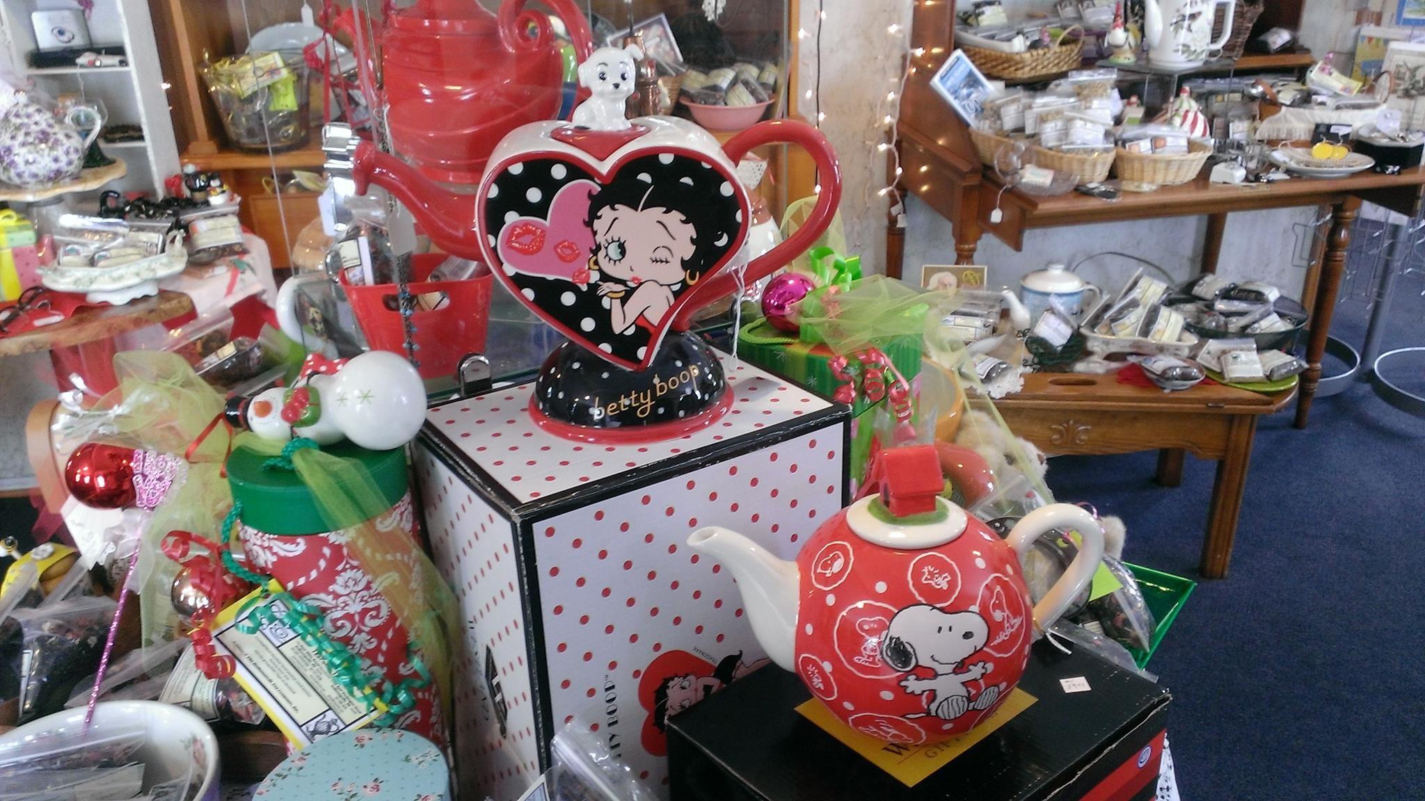 Betty Boop!!! TeaPots!!! dots all over.... TeaPots n Treasures 133 East Ohio Street and 11500 East Washington Street   317 687 8768 and 317 500 1079   www.teapots4u.com