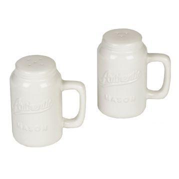 White Mason Jar Salt & Pepper Shakers