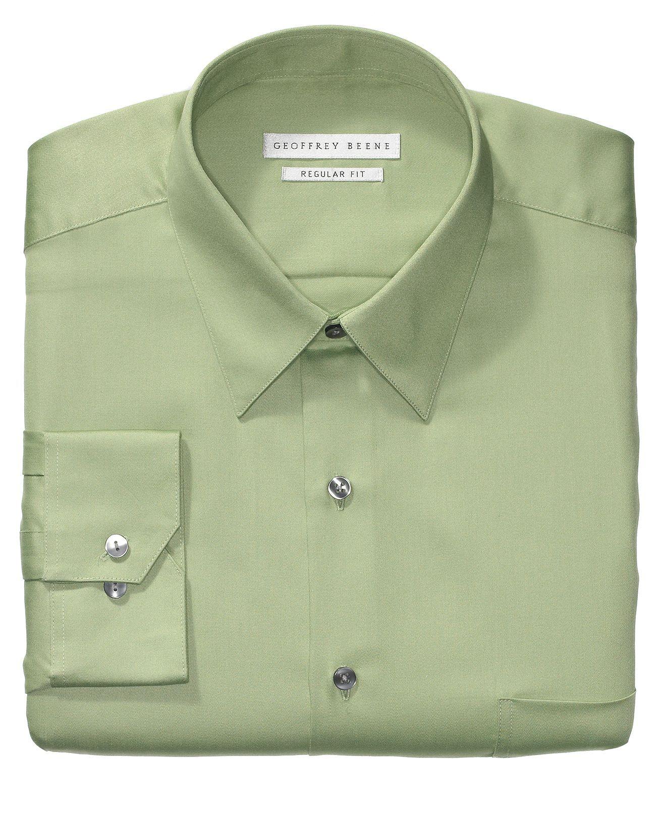 Geoffrey Beene Dress Shirt Sateen Solid Mens Dress Shirts