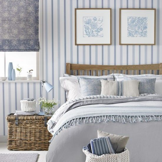 Pale country blue striped bedroom   Decorating with pale ...