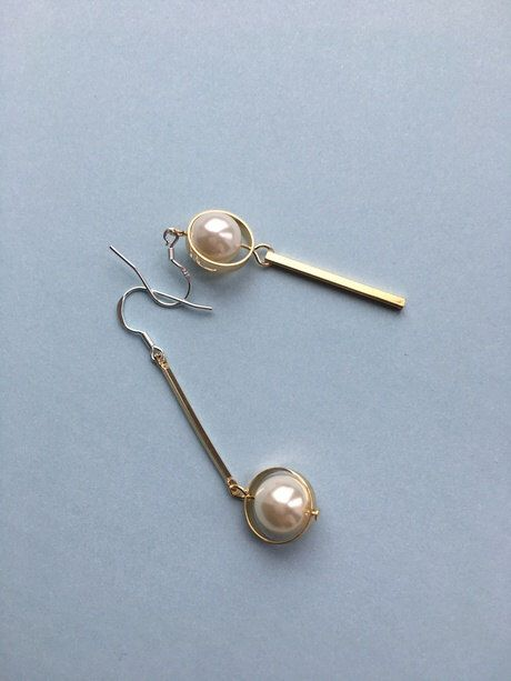 Mismatched Pearl Dangle Earrings Long Gold Sterling Silver Drop Faux