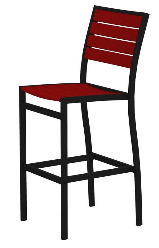 Polywood A102fabsr Euro Bar Side Chair In Textured Black Aluminum
