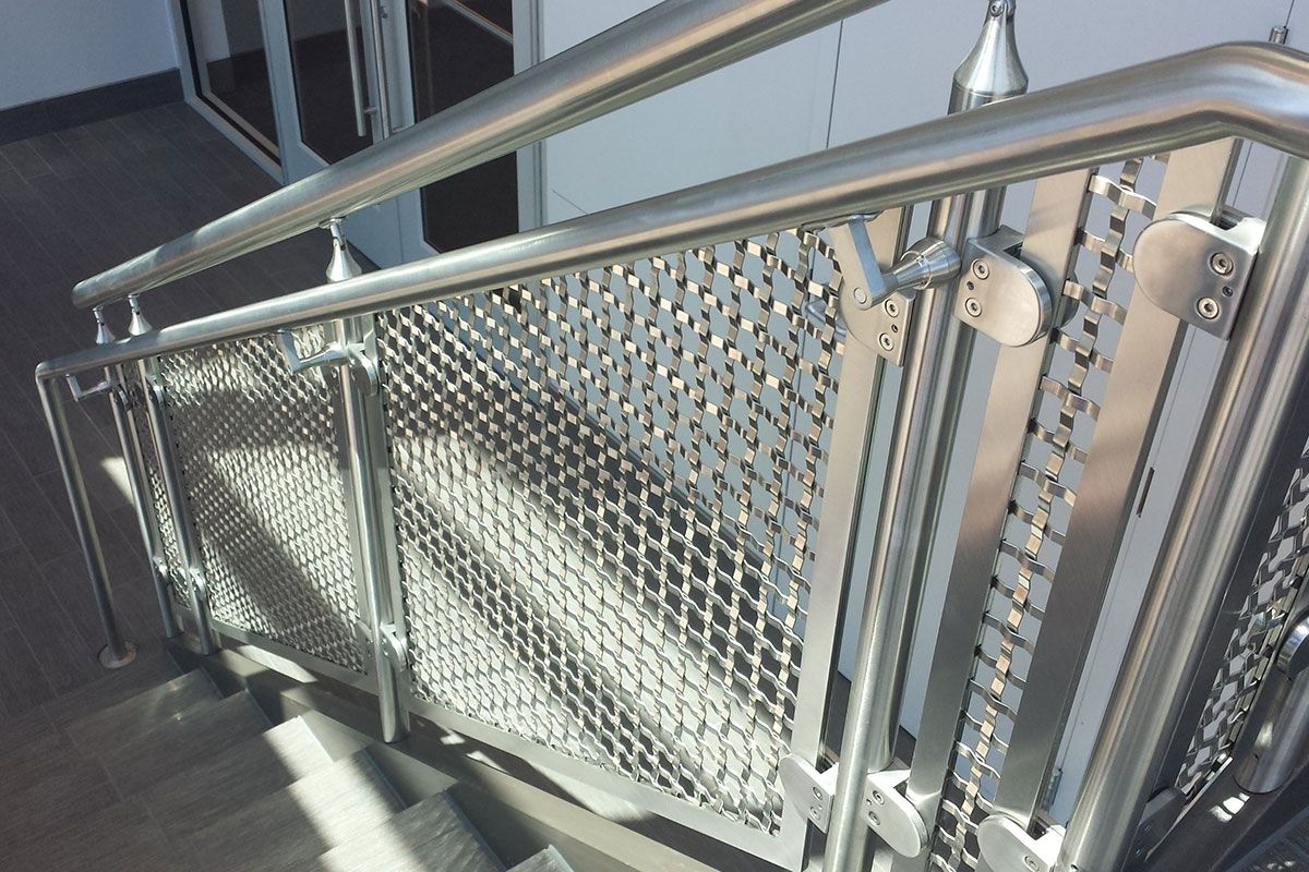 PNC Bank - Stainless Steel Woven Wire Mesh Interior Stairway ...