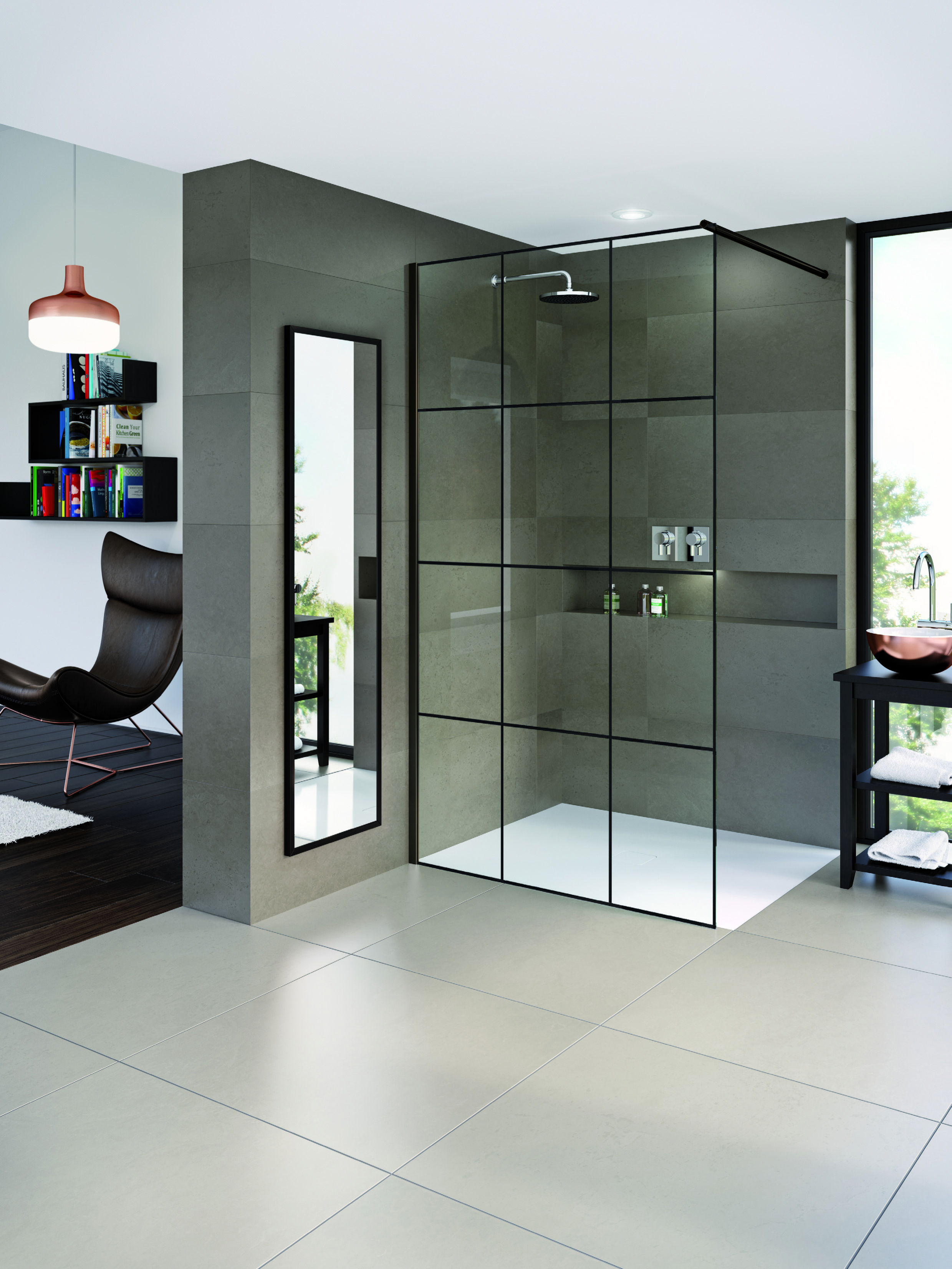 Matki One Wet Room Panel With Crittall Glass Available To Order From Matki Bathroom Shower Panels Shower Enclosure Bathroom Wall Panels