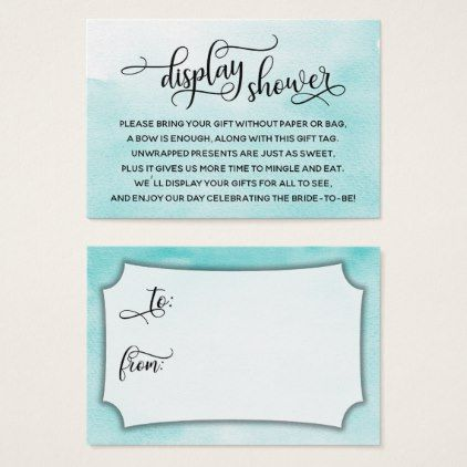 aqua watercolor display bridal shower gift tag script gifts template templates diy customize personalize special
