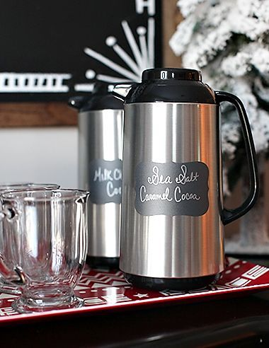 Easy way to serve and keep hot chocolate warm for a hot chocolate bar. Love those chalkboard labels. #hotchocolatebar Easy way to serve and keep hot chocolate warm for a hot chocolate bar. Love those chalkboard labels. #hotchocolatebar