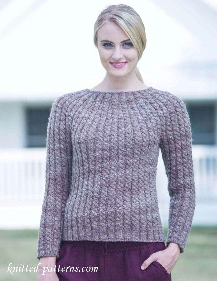 Round Yoke Pullover Knitting Pattern Free Dmsk Mda Knitted