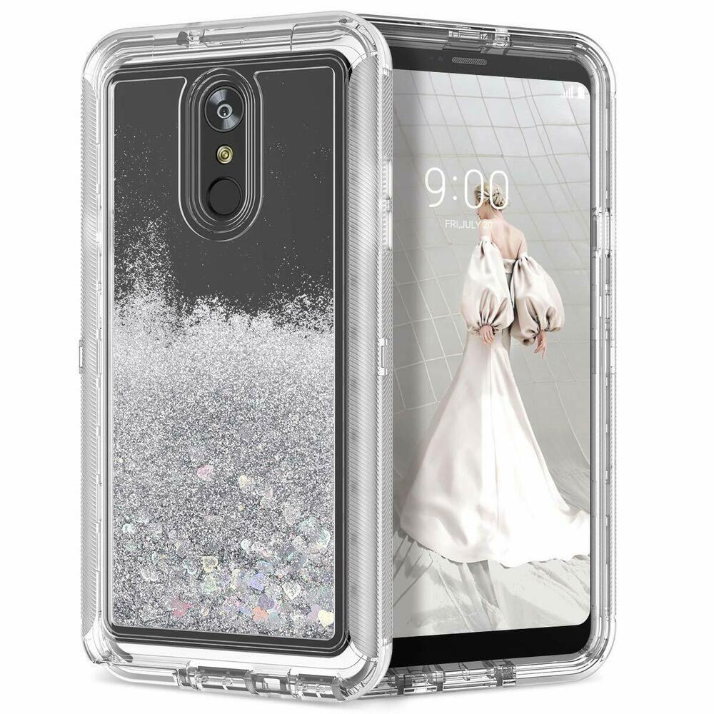 Hybrid shockproof quicksand liquid glitter bling phone