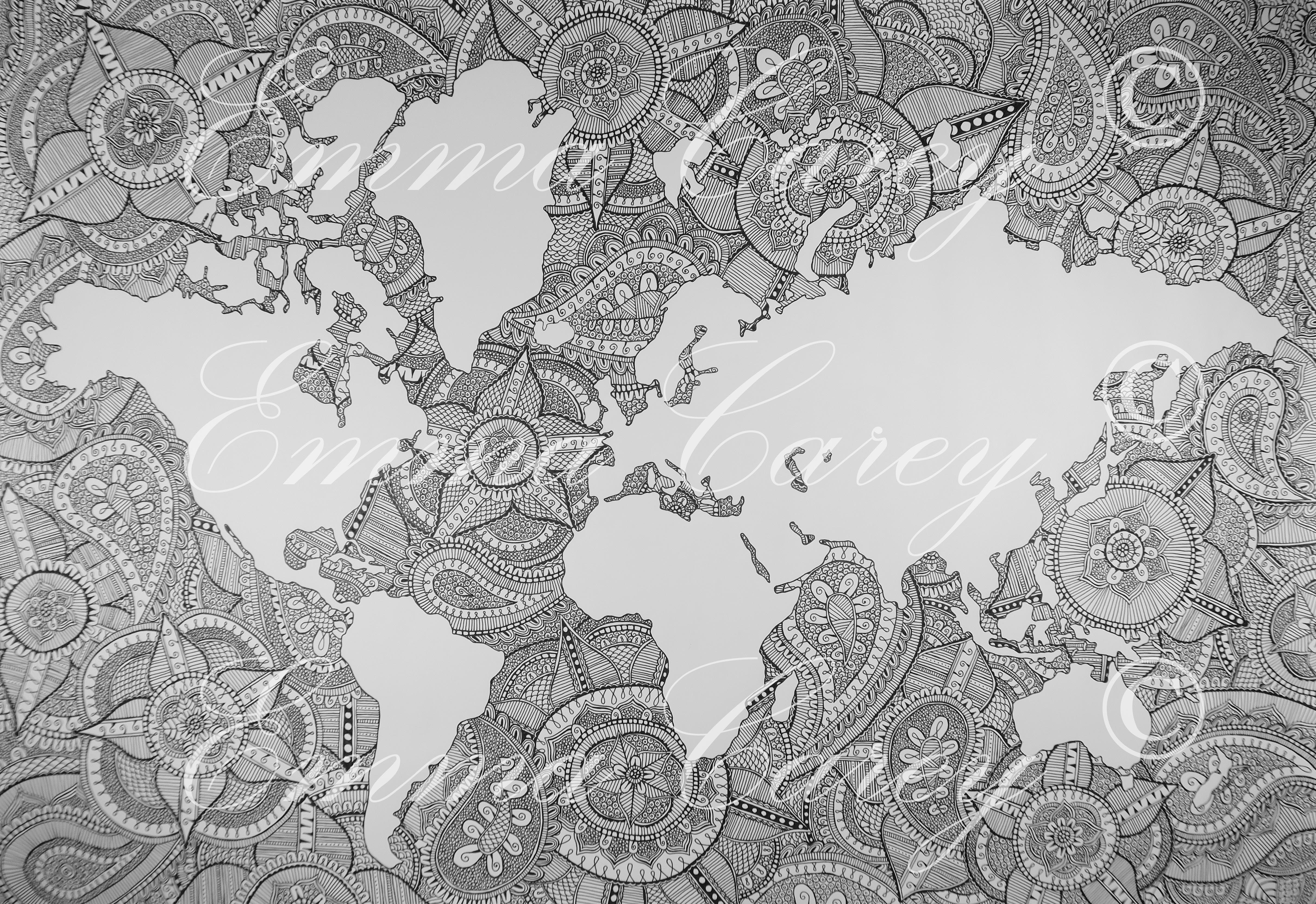 World Map Xl Emma Carey Designs Art World Map Map