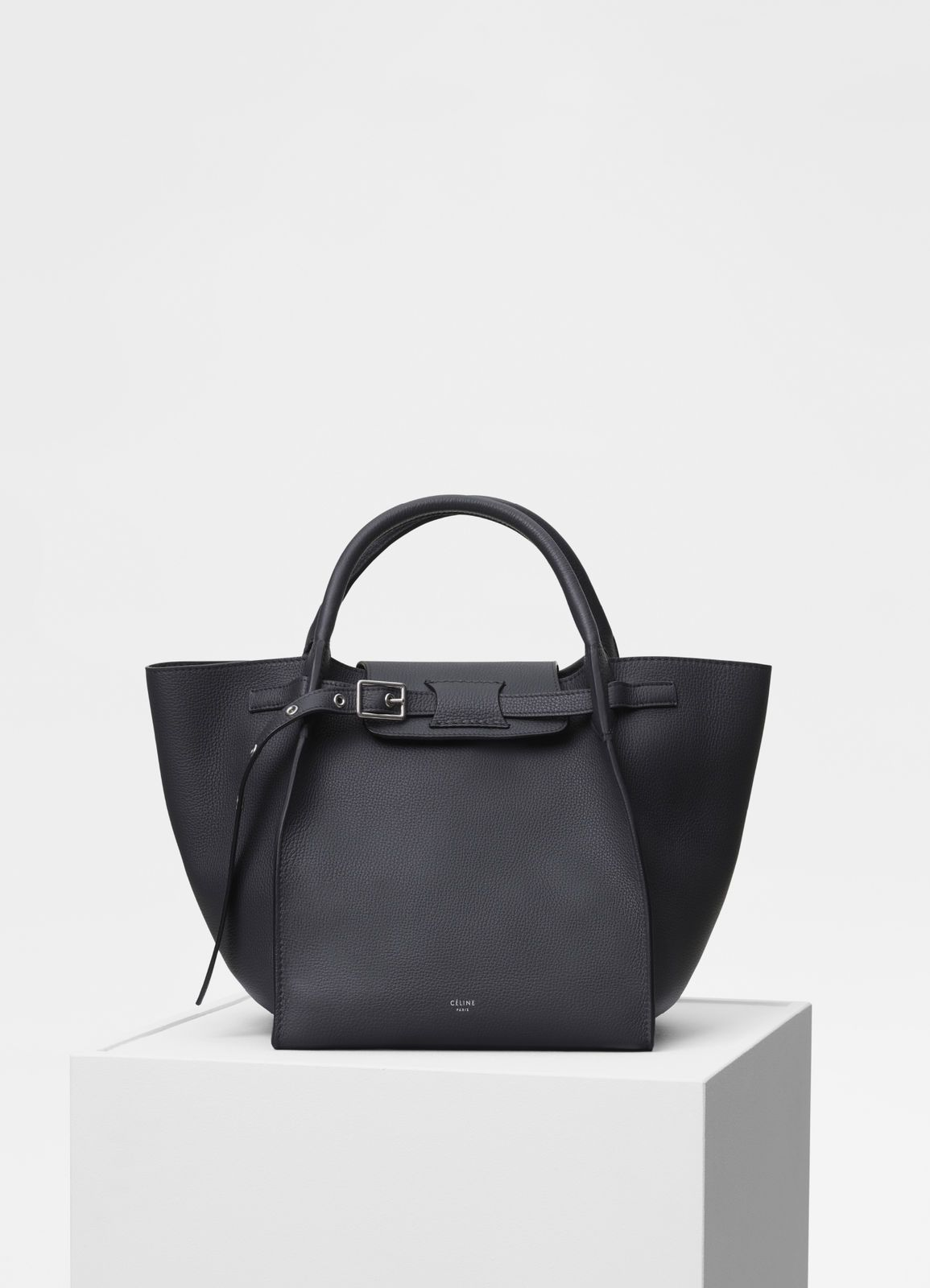 49879757f0 Celine Anthracite Supple Grained Calfskin Small Big Bag with Long Strap