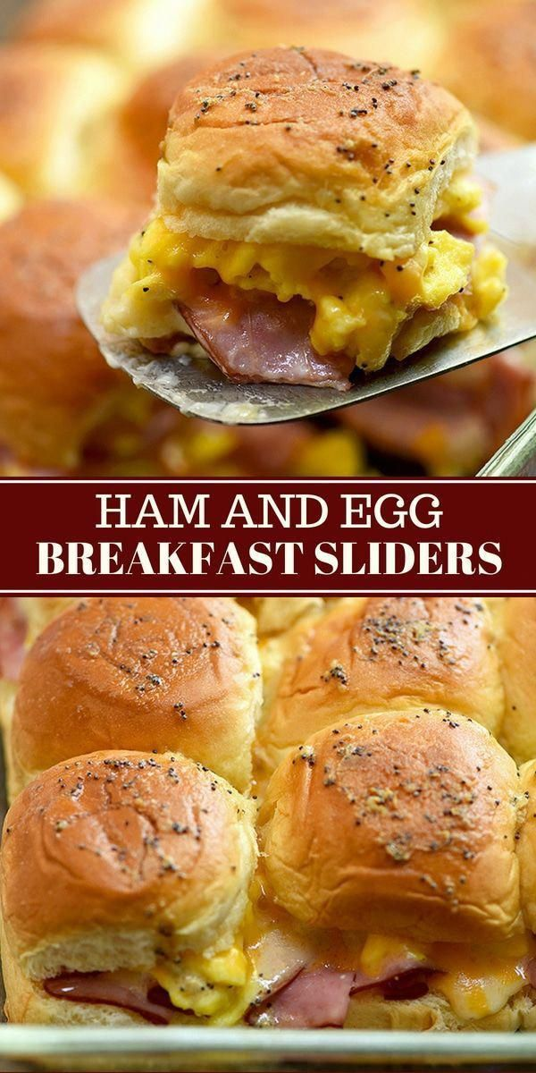 Ham Egg and Cheese Breakfast Sliders Ham Egg and Cheese Breakfast Sliders with your favorite breakfast fixings, Hawaiian rolls, and a delicious Dijon poppyseed glaze. They're easy to make and can be prepped ahead. Perfect for brunch or game day!