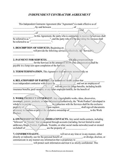 Independent Contractor Agreement Form, Template (with Sample - return to work form