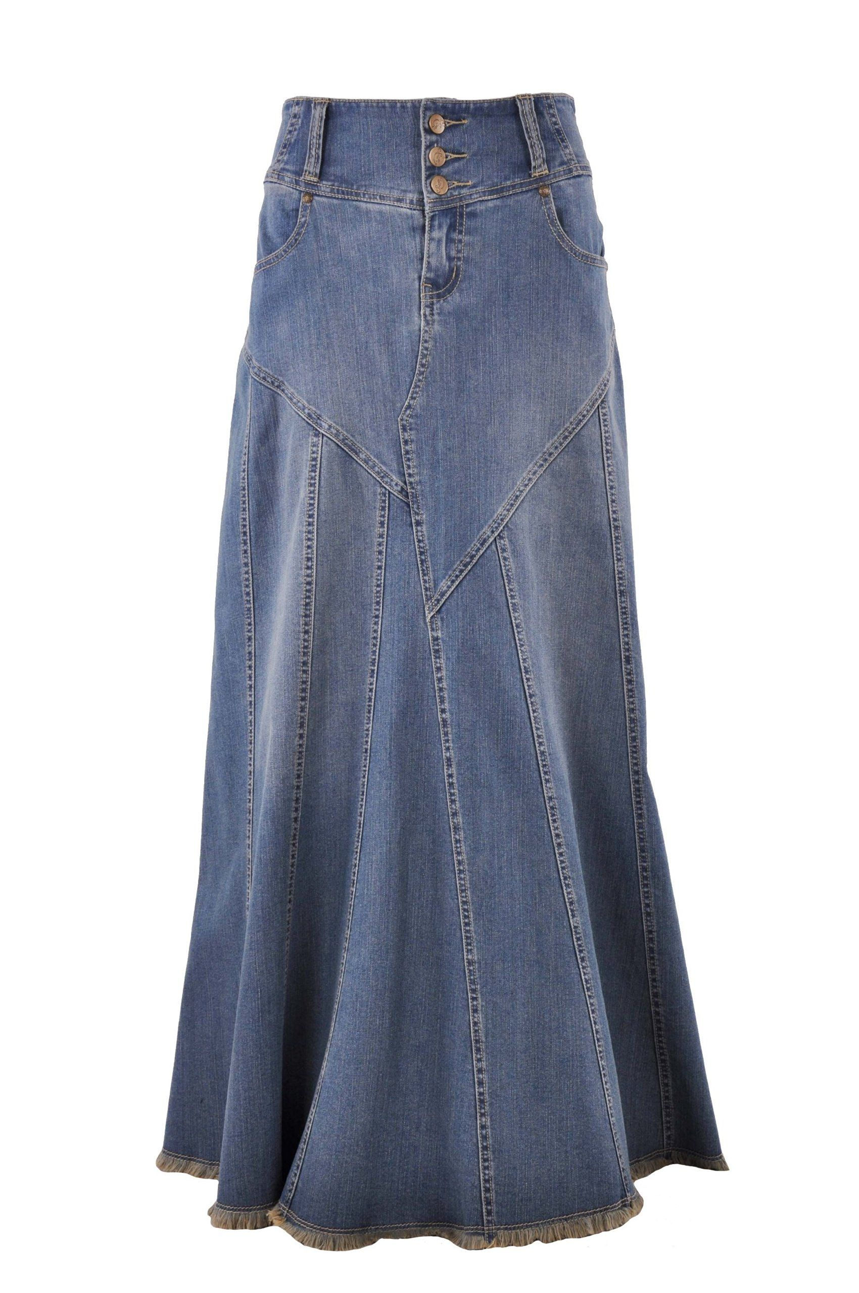 Style J Fantastic Flared Long Jean Skirt - have this one in khaki ...