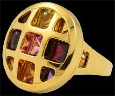Cartier 18kt. yellow gold semi-precious stones ring.Modern