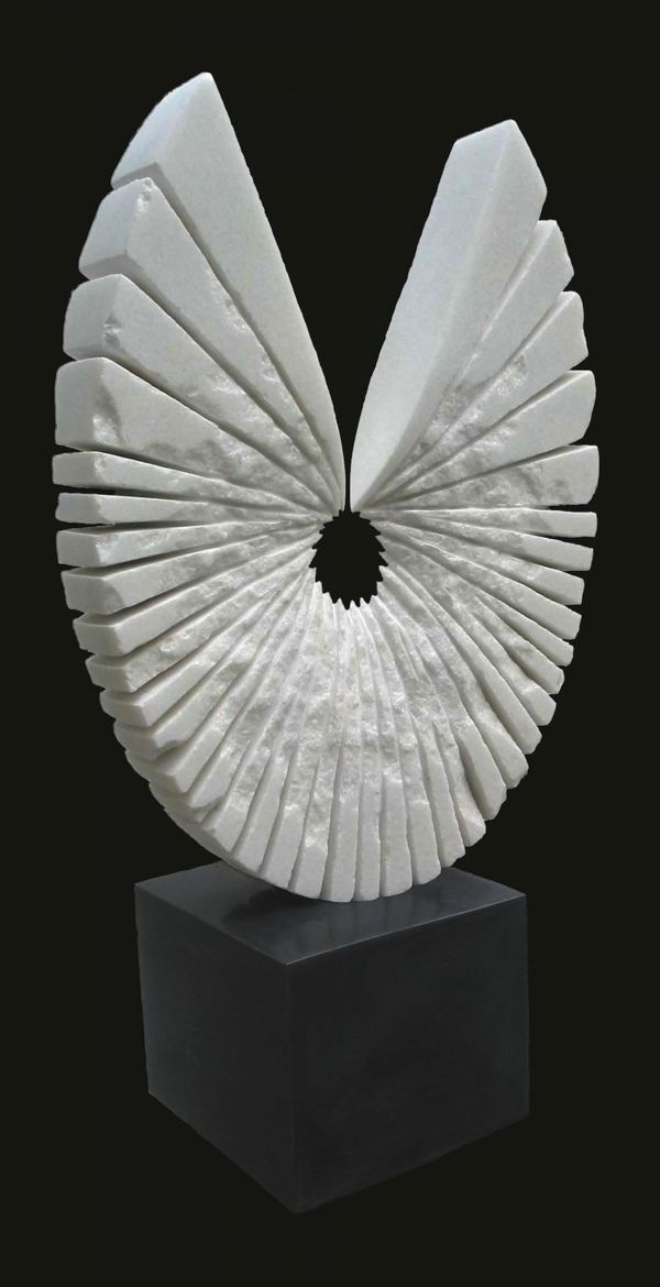White marble Abstract Contemporary or Modern Outdoor Outside Exterior Garden / Yard Sculptures Statues statuary sculpture by artist Sava C Marian titled: 'PORTE-BONHEUR (Carved White marble abstract Circular garden/Yard statue)'